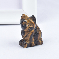 Hand Carved Natural Tiger Eye Stone Crystal Small Cat Figurines Gemstone Craft