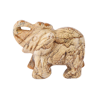 1.5 Inch Hand Carved Picture Jasper Elephant Crystal Animal Figurines