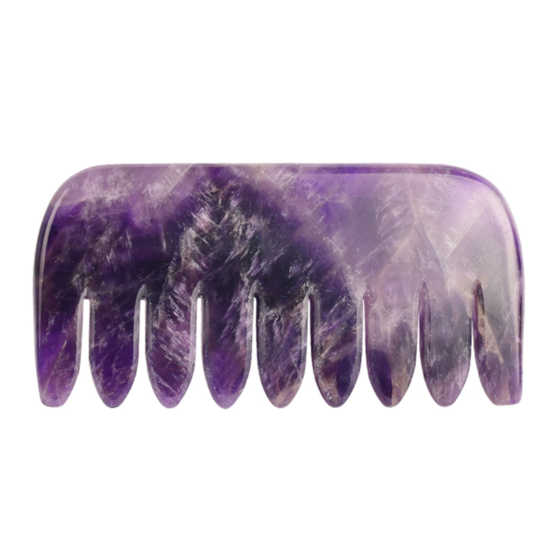 Natural Amethyst Body Guasha Comb Massager Health Care Tool