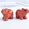 1.5 Inch Hand Carved Red Jasper Stone Elephant Crystal Animal Figurines
