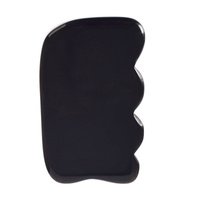 Wave Shaped Black Obsidian Gua Sha Scraping Gua Sha Board for SPA Acupuncture Treatment, Reducing Neck and Muscle Pain
