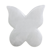 Butterfly Shap White JadeGua Sha Facial Massage Tool Natural White Jade Scraping board Body Scraper Crystal Scratching
