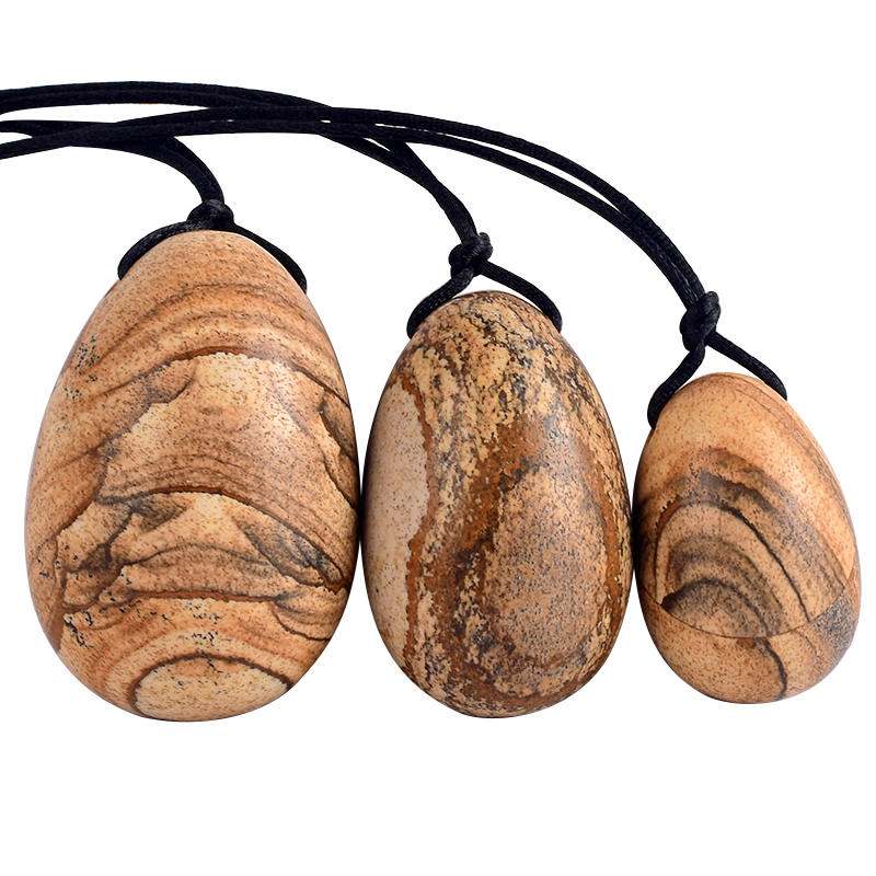 Picture Jasper Jade Yoni Eggs Massage Kegel Jade Eggs 3PCS Natural Picture Jasper Beads To Train Pelvic Muscles