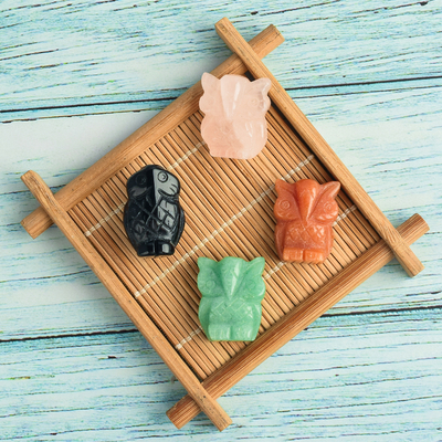 2 inch Hand Carved Natural Crystal Stone Mini owl figurines Figurines