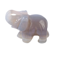 1.5 Inch Hand Carved Grey Agate Stone Elephant Crystal Animal Figurines