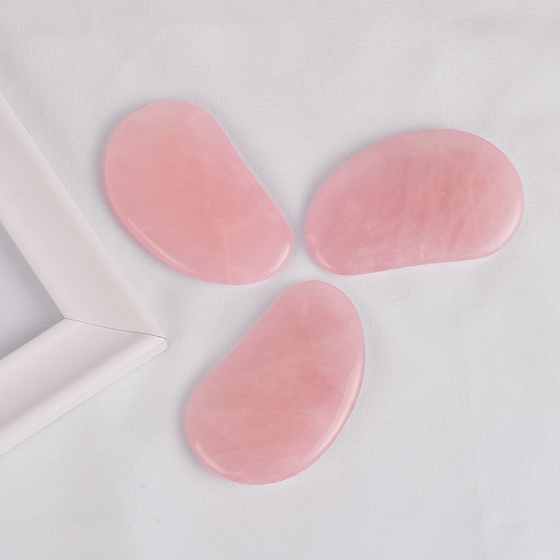 Eye-Shaped Rose Quartz Gua Sha Board Massage for SPA Acupuncture Treatment, Reducing Neck and Muscle Pain