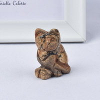 Hand Carved Natural Green Aventurine Crystal Small Cat Figurines Gemstone Craft