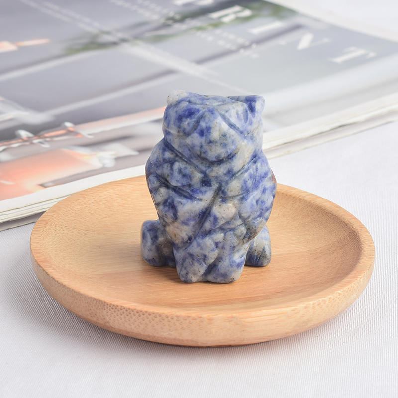 1.5 inch Hand Carved Natural Blue Spot Jasper Stone Mini owl figurines Figurines