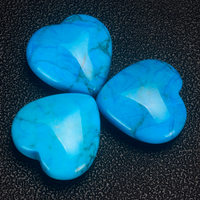 20mm 30mm 35mm Turquoise Heart Shape Gemstone Beads Natural Turquoise Crystal Hearts