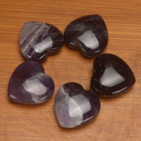 20mm 30mm 35mm Amethyst Stone Heart Figurine Gemstone Beads Natural Jade Hearts