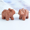 1.5 Inch Hand Carved Gold Sandstone Elephant Crystal Animal Figurines