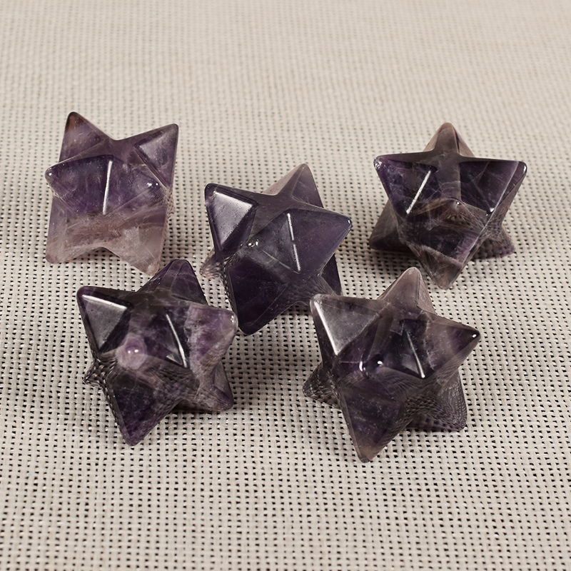 Natural Gemstone Purple Fluorite Crystal Merkaba Star Stone