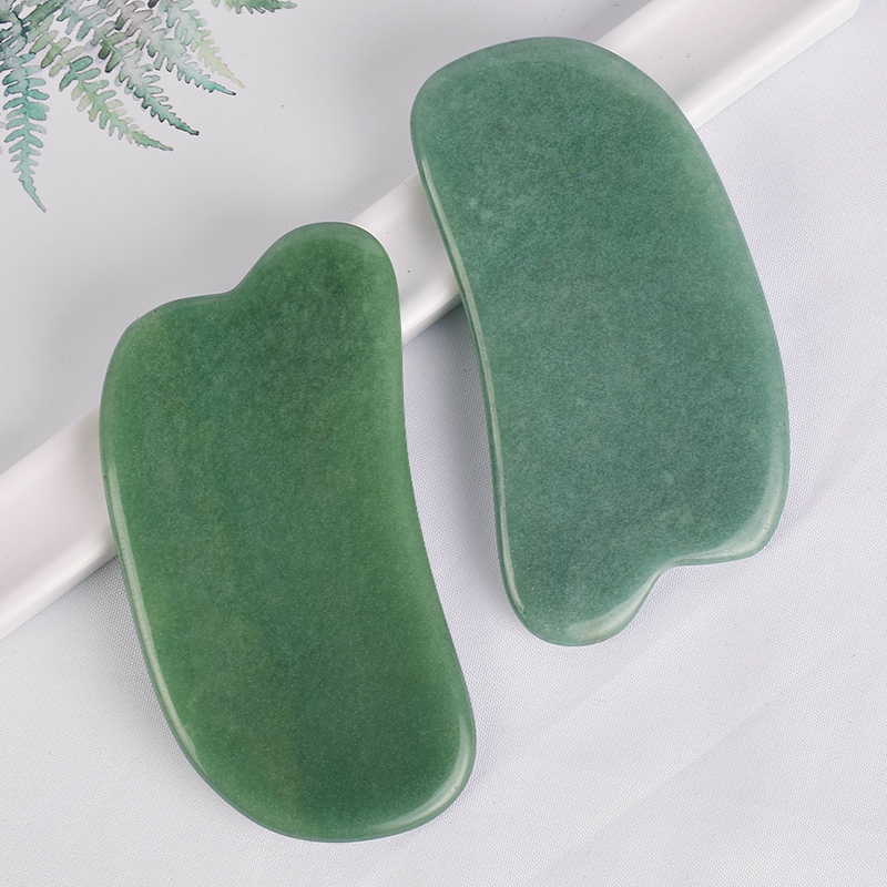 Hat-Shaped Green Aventurine Guasha Scraping Stone for Spa Relaxing Meditation Massage