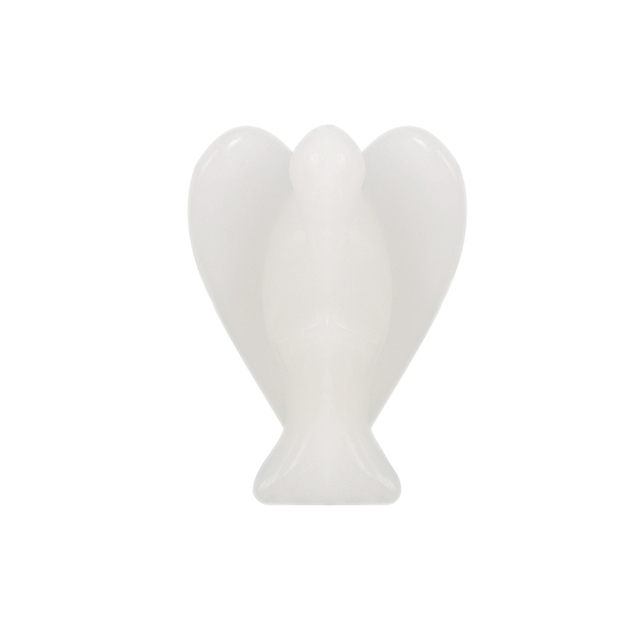 1.5 Inch White Jade Stone Small Carved Crystal Angel Figurine