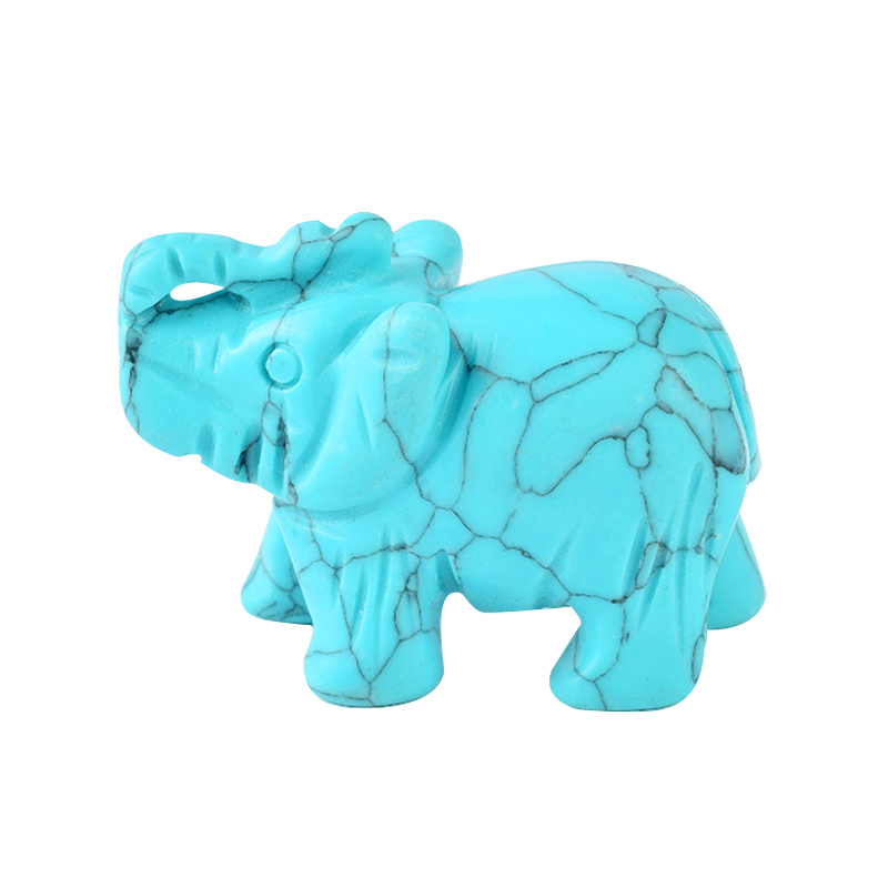 1.5 Inch Hand Carved Turquoise Stone Elephant Crystal Animal Figurines