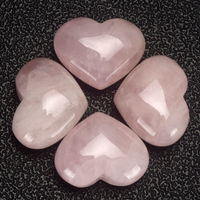 20mm 30mm 35mm Rose Quartz Heart Figurine Gemstone Beads Natural Jade Hearts