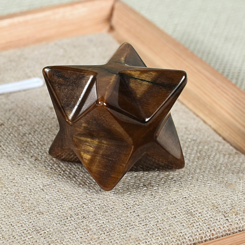 Natural Gemstone Tiger Eye Merkaba Star Stone