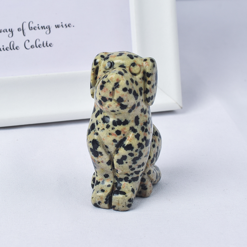 2 inch Hand Carved Natural Dalmattian Jasper Stone Mini Dog Figurines