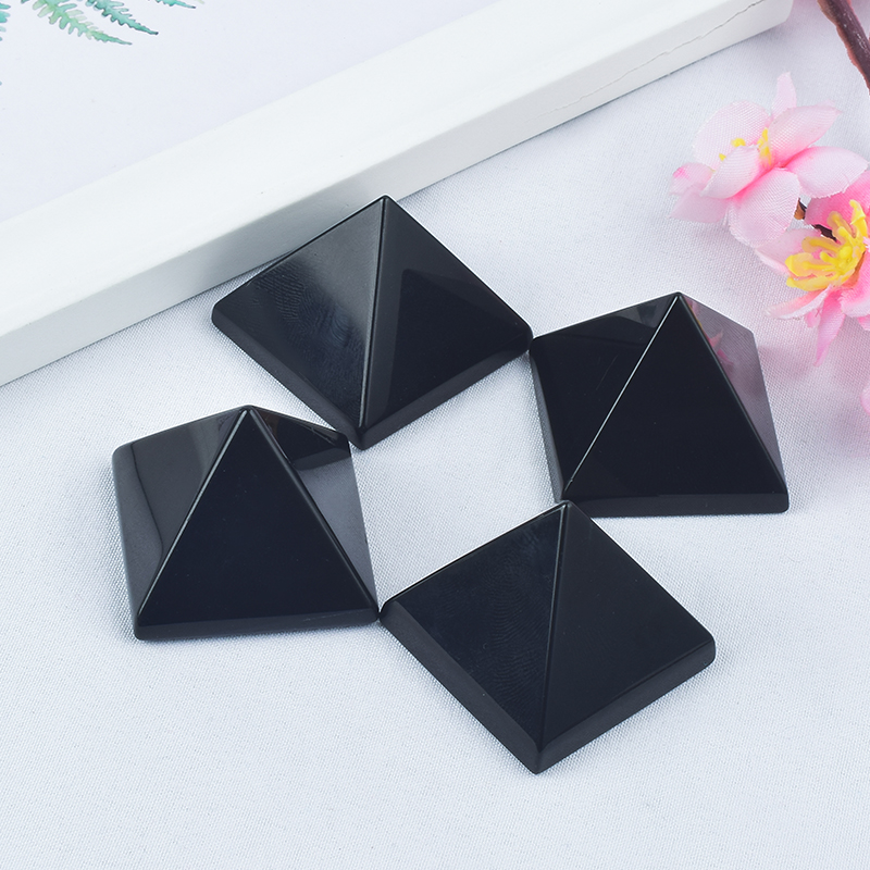 Craved Natural Black Obsidian Stone Pyramids