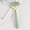 Single-end Green Aventurine Spike Roller Natural Green Aventurine Stone Facial Massager Tool for Anti Aging, Reduce Wrinkles, Improve Lymphatic Drainage