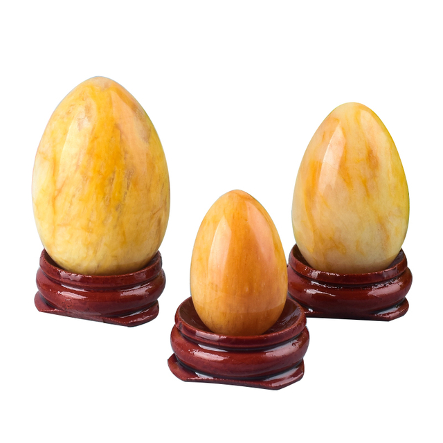 Undrilled Yellow Jade Yoni Eggs Massage Jade egg to Train Pelvic Muscles Kegel Exercise