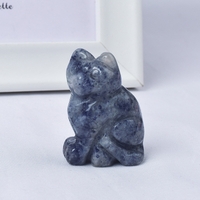 Hand Carved Natural Blue Aventurine Crystal Small Cat Figurines Gemstone Craft
