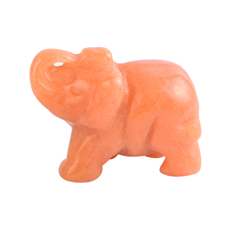 1.5 Inch Hand Carved Red Aventurine Stone Elephant Crystal Animal Figurines
