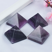 Craved Natural Amethyst Quartz Pyramids