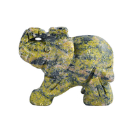 1.5 Inch Hand Carved Straw Turquoise Crystal Elephant Crystal Animal Figurines