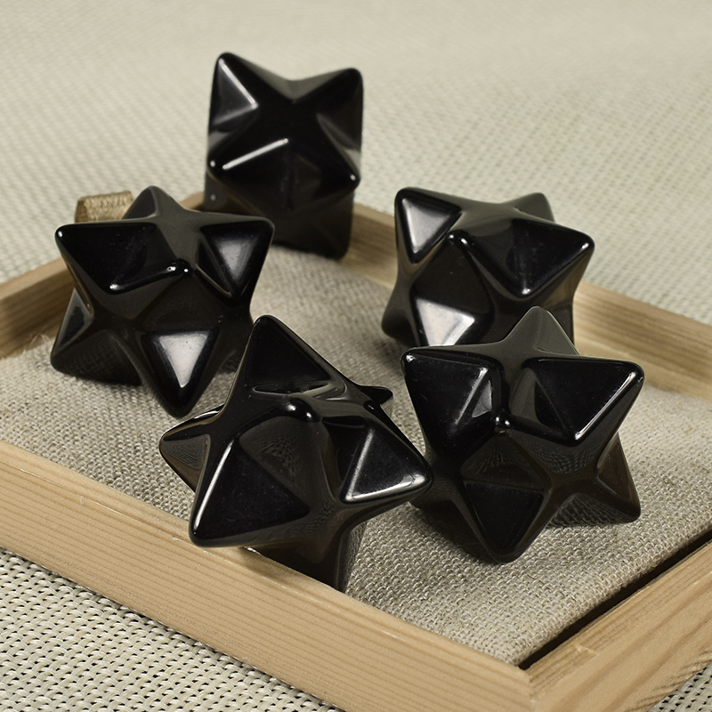 Natural Gemstone Black Obsidian Merkaba Star
