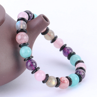 Natural Strawberry Crystal Purple Crystal Powder Crystal Tianhe Stone Moonstone Multi-Treasure Hand String