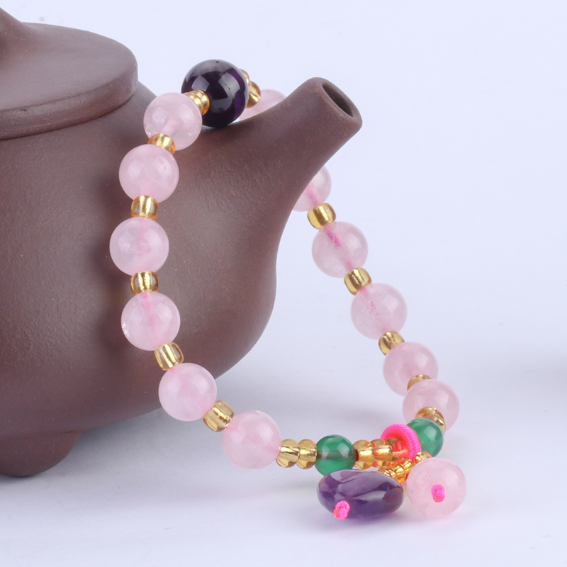 Natural Powder Crystal with Yellow Crystal Bead Bracelet