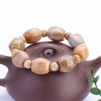 Natural Stone Coral Jade Six Edge Pillar Enjoy Longevity Hand String