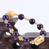 Natural Charoite Beads with Yellow Jade Hand String